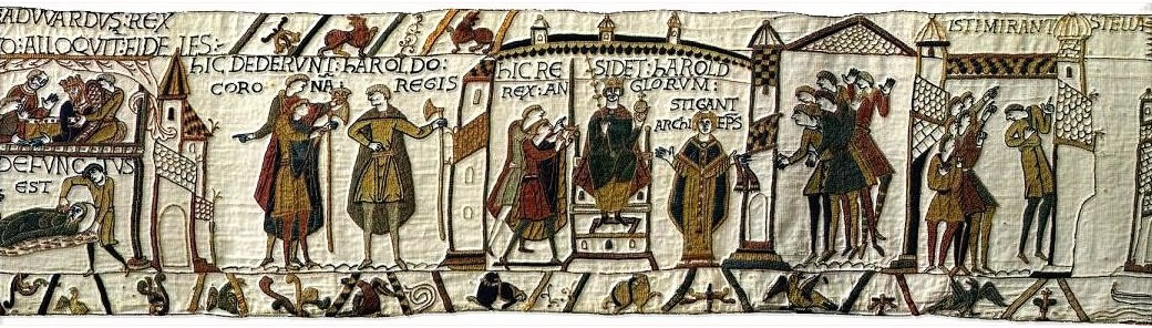 HIC DEDERUNT HAROLDO CORONAM REGIS. HIC RESIDET HOROLD REX ANGLORUM. STIGANT ARCHIEPISCOPUS. ISTI MIRANT STELLAM. : Here they gave the royal crown to Harold. Here enthroned is Harold, King of England. Archbishop Stigand. These people marvel at the star.